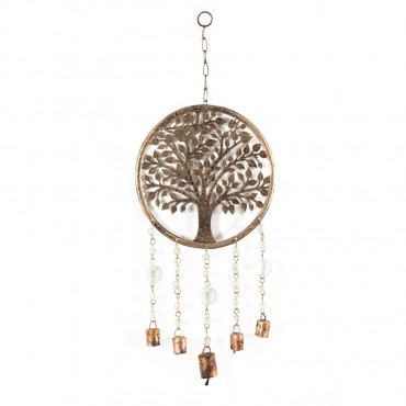 Handcraft Tree Of Life W/ Bells Hanger Chime Metal Antique Gold 25x60cm