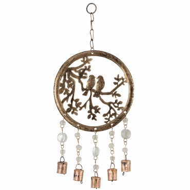 Handcraft Circle Of Life W/ Birds Hanger Chime Metal Antique Gold 20x43cm