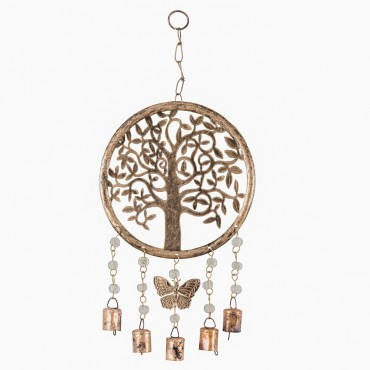 Handcraft Circle Of Life W/ Butterfly Hanger Chime Metal Antique Gold 20x43cm