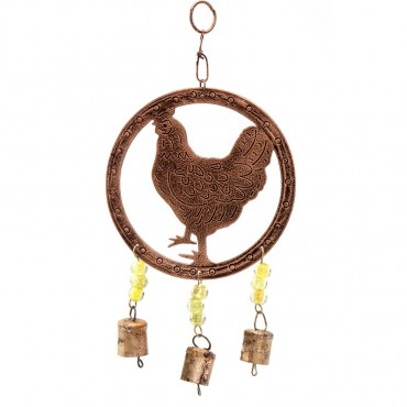 Hanging Chook W/ Beads & Bell Hanger Chime Antique Copper 32x2cm