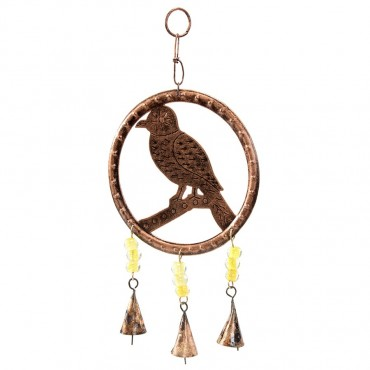 Hanging Birds W/ Beads & Bell Hanger Chime Antique Copper 32x2cm