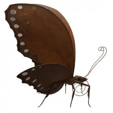Large Butterfly Statue Garden Sculpture Figurine Ornament Metal Brown Rust 79x96cm