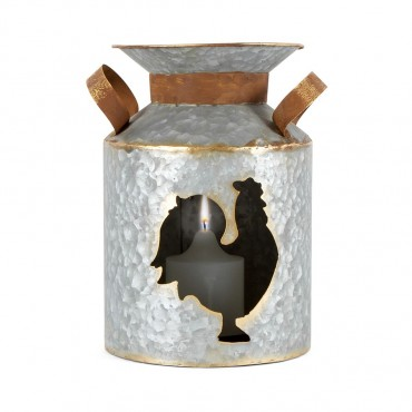 Cut Out Churn W/ Rooster Candle Holder Lantern Tealight Lamp 18x26cm