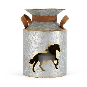 Cut Out Churn W/ Horse Candle Holder Lantern Tealight Lamp Metal 18x26cm