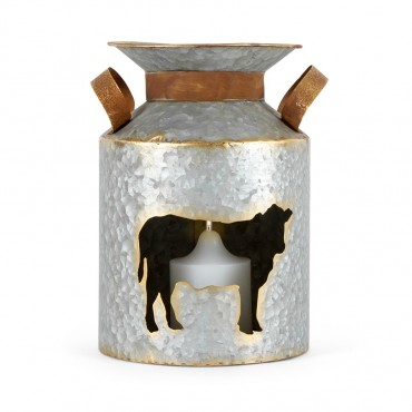 Cut Out Churn W/ Cow Candle Holder Lantern Tealight Lamp Metal 18x26cm