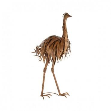 Large Mum Ostrich Statue Garden Sculpture Figurine Ornament Metal Brown 48x90cm