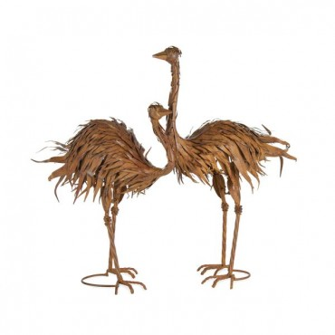 Set 2 Large Ostriches Assort Garden Sculpture Figurine Ornament Metal Brown 43x63cm