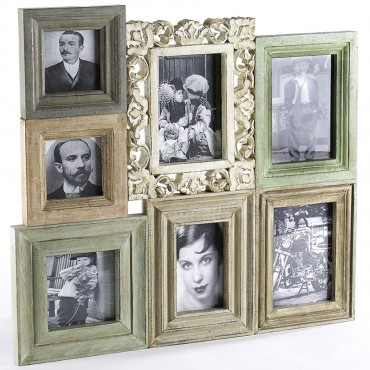 Large French Wall Photo Collage Mango Wood Picture Art 46x52cm