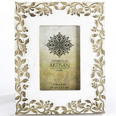 Carved Leaves 4X6In Photo Frame Mango Wood Picture Art 24x19cm