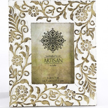 Carved Ornate Leaves 5X7In Photo Frame Mango Wood Picture Art 28x23cm