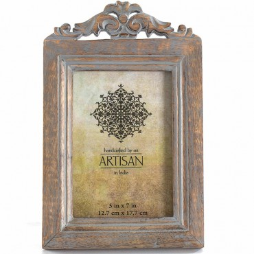 Wood Carved Vintage Scroll Top Photo Frame Picture Art MDF Brown 18x28cm