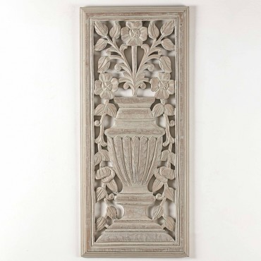 Mdf Carved Tuscan Vase Wall Hanging Screen Sign MDF Brown 35x80cm