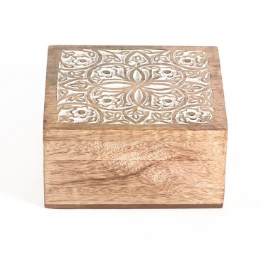 Hand Carved Box Storage Container Holder Wood Brown White Wash 15x8cm