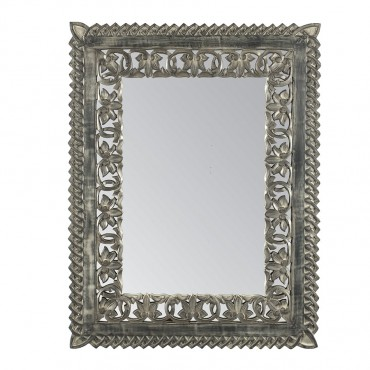 Regal Rectangle Wall Mirror Hanging Art Timber Grey Antique 66x86cm