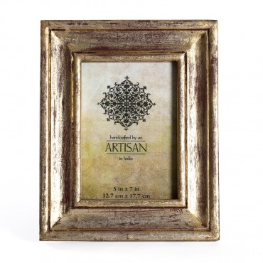 Artisan Photo Frame Picture Art Decor Timber Glass Burgundy Gold 22x27cm