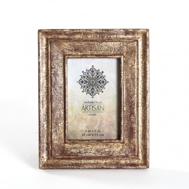 Artisan Photo Frame Picture Art Decor Timber Glass Burgundy Gold 19x24cm