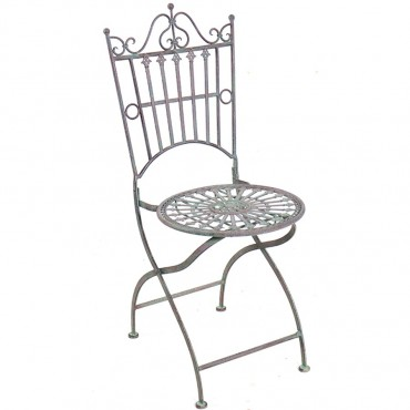 Provence Collection Chair Seat Stool Occasional Metal Green 60x97cm