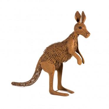 Large Rust Kangaroo Garden Sculpture Figurine Ornament Metal Rust Brown 83x66cm