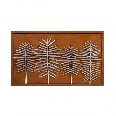 Laser Cut Leaves On Wall Hanging Screen Sign Metal  95x56cm