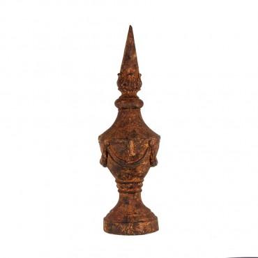 Large Spire Decor Ornament Figurine Metal Brown 28x90cm