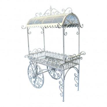 Large Ornate Metal Flower Cart Wedding Display Stand Antique White 136x200cm