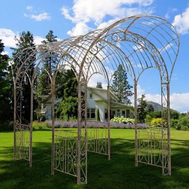 Large Maxi Gazebo Outdoor Plant Climber Wedding Iron Distress Grey 570x300cm