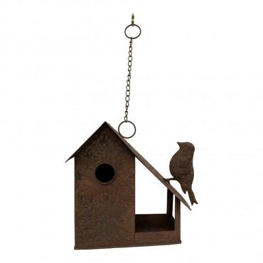 Hanging Birdhouse W/ Bird On Roof Outdoor Feeding Station Garden Rust 28x25cm