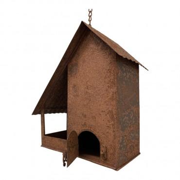Hanging Birdhouse W/ Bird On Roof Hanger Chime Hanging Sign Decor Metal 28x25cm