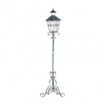 French Fleur Candle Outdoor Metal Lamp Light Lantern Blue 33x135cm