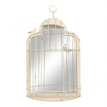 Birdcage Wall Mirror Hanging Art Decor Bathroom Living Metal 35x60cm