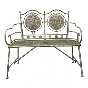 Riviera Bench Metal Garden Seat Chair Outdoor Patio 112x100cm