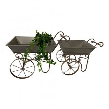 Set 2 Baroque Flower Cart Outdoor Display Stand Plant Flower Metal 70x50cm