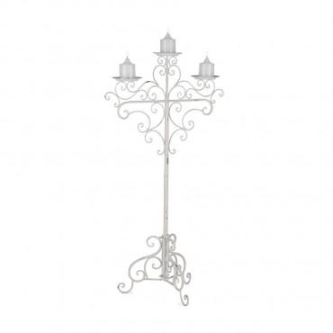 Elaborate 3 Pillar Candelabra Lantern Tealight Lamp Metal White 61x112cm