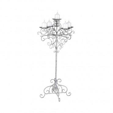 Elaborate 5 Pillar Candelabra Lantern Tealight Lamp Metal Grey 43x112cm