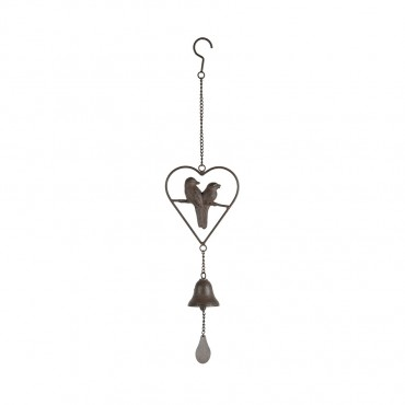 Birds In Heart Hanging Bell Hanger Chime Hanging Sign Decor Metal 15x66cm