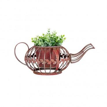 Teapot Pot Planter Garden Pot Flower Plant Holder Metal Antique Red 36x14cm