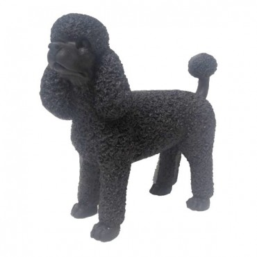 French Poodle Dog Statue Garden Sculpture Figurine Ornament Mgo Black 15x36cm