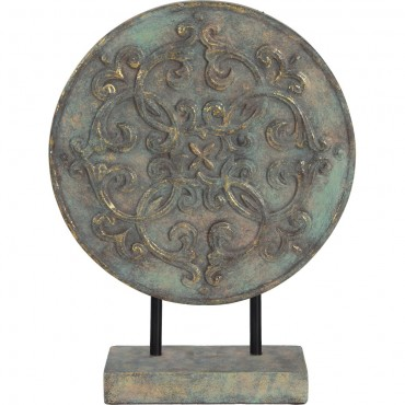 Embossed Round Table Plaque On Base Ornament Figurine Ceramic Metallic 30x40cm