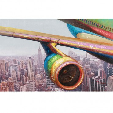 Aeroplane Over City Canvass Hanging Screen Sign Stretcher Bar 90x3cm