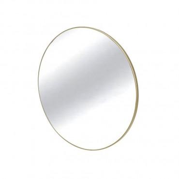 Slimline Round Wall Mirror Hanging Art Metal Mirror Gold 60cm