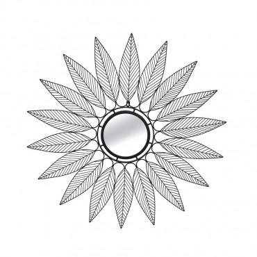 Contemporary Round Leaf Mirror Hanging Art Metal Mirror Black 91cm