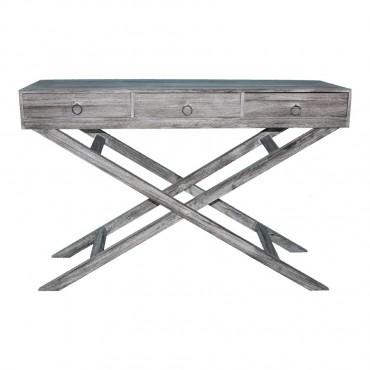 Lorette 3 Drawer Console Table Hallway Hall Unit Timber Grey 120x80cm