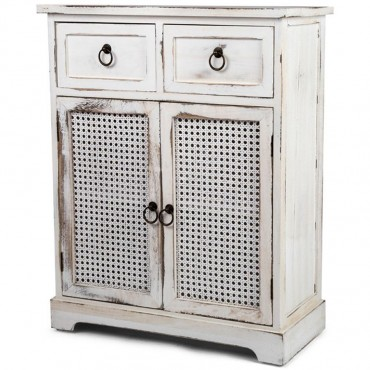 Lorette Double Door W/ Drawer Cabinet Side Board Chest White Wash 60x75cm