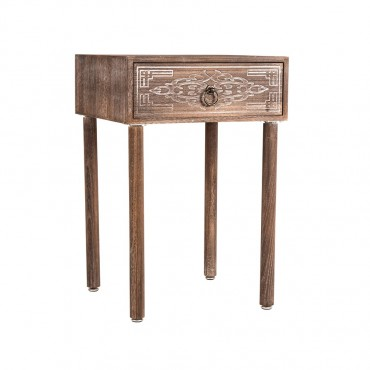Lorette Side Table Carved 1 Drawer Lamp Nightstand Timber Natural 40x60cm