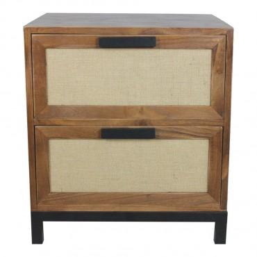 Lino 2 Drawer Side Table Lamp Nightstand Paulownia Metal Walnut 45x50cm