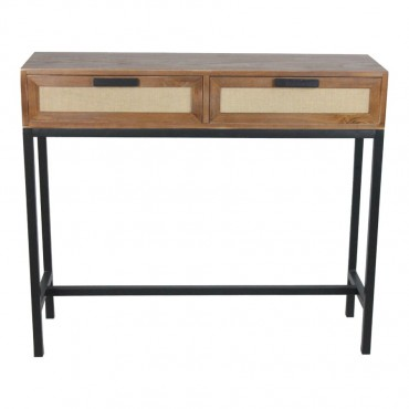 Lino 2 Drawer Console Table Hallway Hall Unit Paulownia Metal Walnut 100x85cm