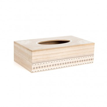 Mandala Tissue Box Holder Storage Container Holder Mdf Timber White Wash 26x8cm