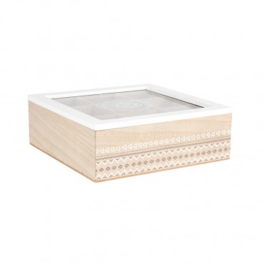 9 Divisiontea Box Holder Storage Container Holder Mdf Timber White Wash 24x9cm