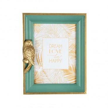 Artisan Photo Frame W/ Parrot Picture Art Mdf Glass Green Gold 18x23cm