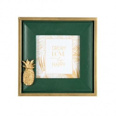 Artisan Photo Frame W/ Pinapple Picture Art Mdf Glass Green Gold 17x17cm